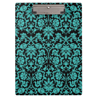 Aqua Damask Clipboard