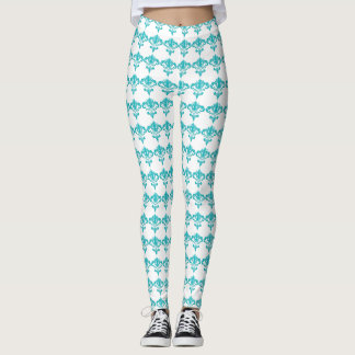 Aqua Damask Leggings