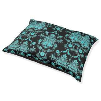 Aqua Damask on Black Chic Design Pet Bed