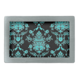 Aqua Damask on Black Chic Design Rectangular Belt Buckles