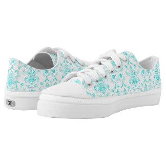 Aqua Damask on White Chic Design Low Tops