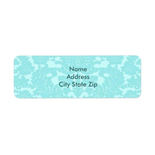 Aqua Damask Return Address Label