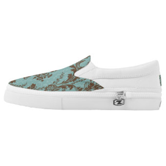Aqua Damask Slip On Shoes