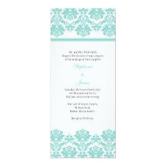 "Aqua Damask Wedding Invitation 4"" X 9.25"" Invitation Card"