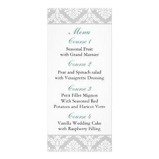 aqua damask Wedding menu Rack Card