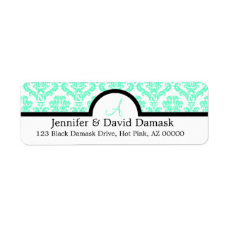 Aqua Damask Wedding Monogram Address Labels