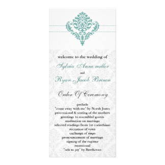aqua damask Wedding program Custom Rack Cards