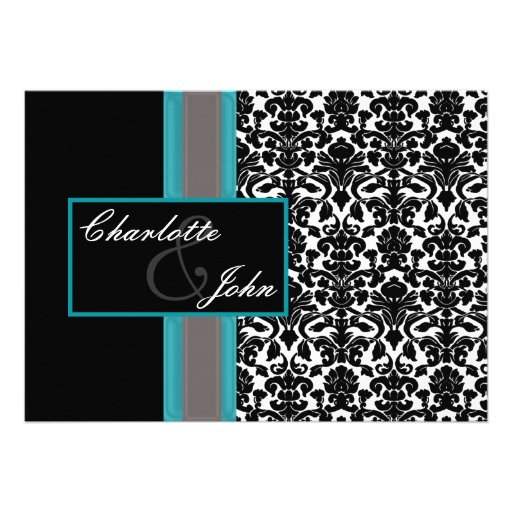 aqua damask wedding save the date custom announcements