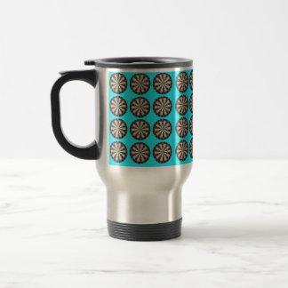 Aqua Dartboard Pattern, Travel Mug