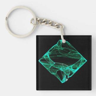 Aqua Diamond Single-Sided Square Acrylic Keychain