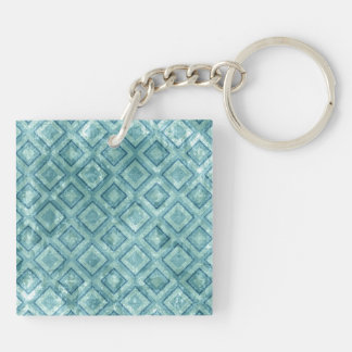 Aqua Diamonds Double-Sided Square Acrylic Key Ring