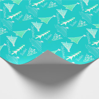 Aqua Doodle Christmas Trees Wrapping Paper