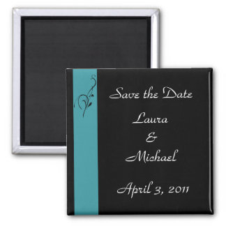 Aqua Elegance Wedding Square Magnet