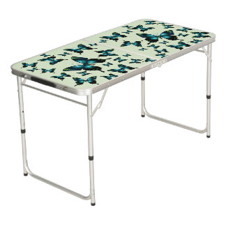 Aqua Elegant Whimsical  Butterflies Customize Beer Pong Table