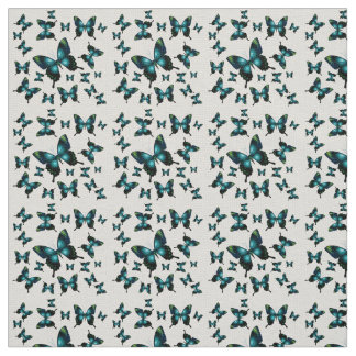 Aqua Elegant Whimsical Butterflies Fabric