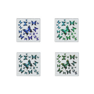 Aqua  Elegant Whimsical  Butterfly Stone Magnet