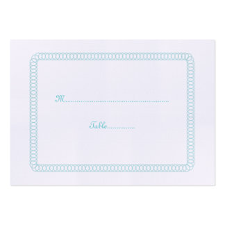 Aqua Encircled Rounded Wedding Place Card Pack Of Chubby Business Cards