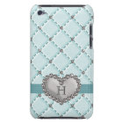 Aqua Faux Quilted Diamond Heart iPod Touch 4g Case