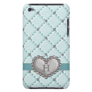 Aqua Faux Quilted Diamond Heart iPod Touch 4g Case Barely There iPod Cases