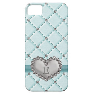 Aqua Faux Quilted Rhinestone Heart iPhone 5 Cases
