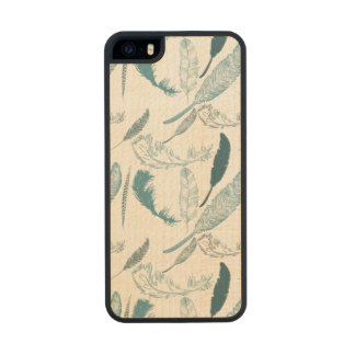 Aqua Feathers Carved® Maple iPhone 5 Case