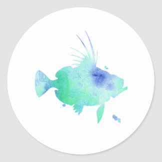 aqua fish watercolour print classic round sticker