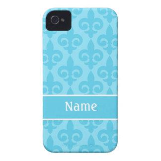 Aqua Fleur de Lis iPhone 4/4S Case