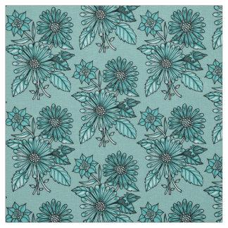 Aqua Floral Bouquet Fabric