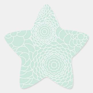 Aqua Floral Design Modern Abstract Flowers Star Sticker