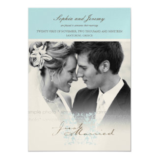 Aqua Floral Flourish Photo Wedding Announcement
