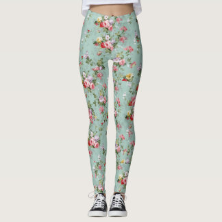 Aqua Floral Leggings