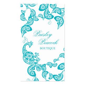 Aqua Floral Paisley Peacock Stylish Chic Elegant Business Card Template