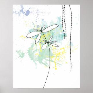 Aqua Floral Splash-Poster Poster