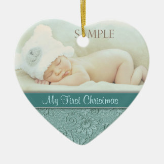 Aqua Floral Swirl Baby First Christmas Christmas Ornaments