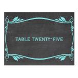 Aqua Flourish Chalkboard Table Number Postcard