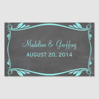 Aqua Flourish Chalkboard Wedding Stickers