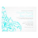 Aqua Flourish Wedding Invitations Custom Invite