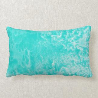 'Aqua Foam' Abstract Silk Watercolor Lumbar Cushion