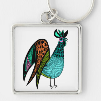 Aqua Folk Art Rooster Silver-Colored Square Key Ring