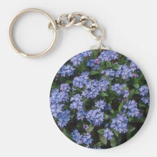 Aqua Forget-Me-Not, (Myosotis Alpestris) flowers Key Ring