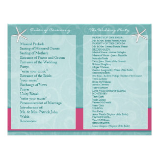 Aqua & Fuchsia Beach Wedding Ceremony Programs 21.5 Cm X 28 Cm Flyer
