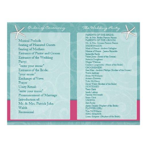 Aqua & Fuchsia Beach Wedding Ceremony Programs Flyer