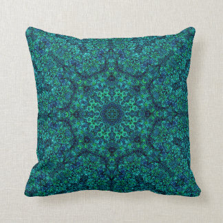 """Aqua Geo Star"" Mandala Pillow"