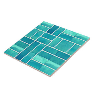Aqua geometric stone-look pattern large square tile