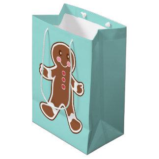 Aqua Gingerbread Boy Christmas Gift Bag Medium Gift Bag