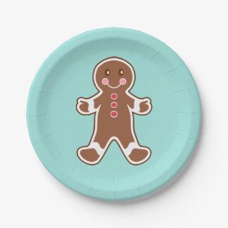 Aqua Gingerbread Boy Paper Plates 7 Inch Paper Plate