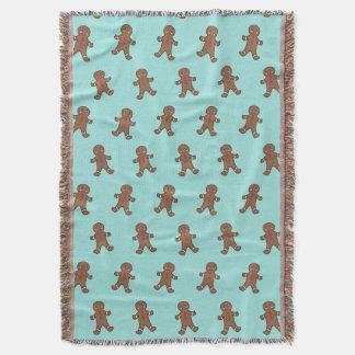 Aqua Gingerbread Boys Throw Blanket