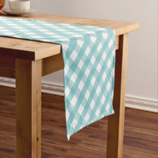 Aqua Gingham Check Pattern Short Table Runner