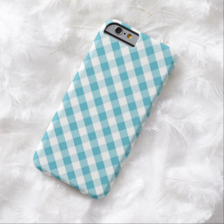 Aqua Gingham Pattern Barely There iPhone 6 Case