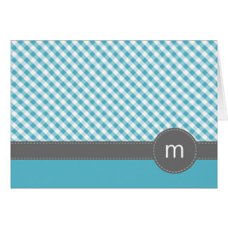 Aqua Gingham Pattern Folded Note Cards